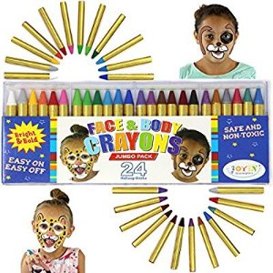$9Joyin Toy 24 Colors Face Paint Safe & Non-Toxic Face and Body Crayons (Large Size 3í) Ultimate Party Pack including 6 METALLIC Colors @ Amazon