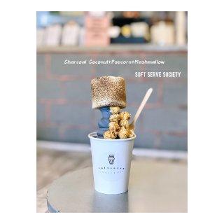 竹炭椰子冰淇淋,棉花糖,爆米花