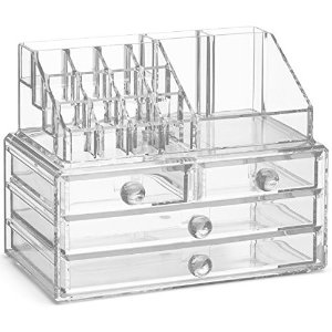 Amazon.com: Choice Fun Acrylic All-in-one Makeup Organizer Cometic Display Case 15 Transparent QFJJSN-NSF-20142: Home & Kitchen