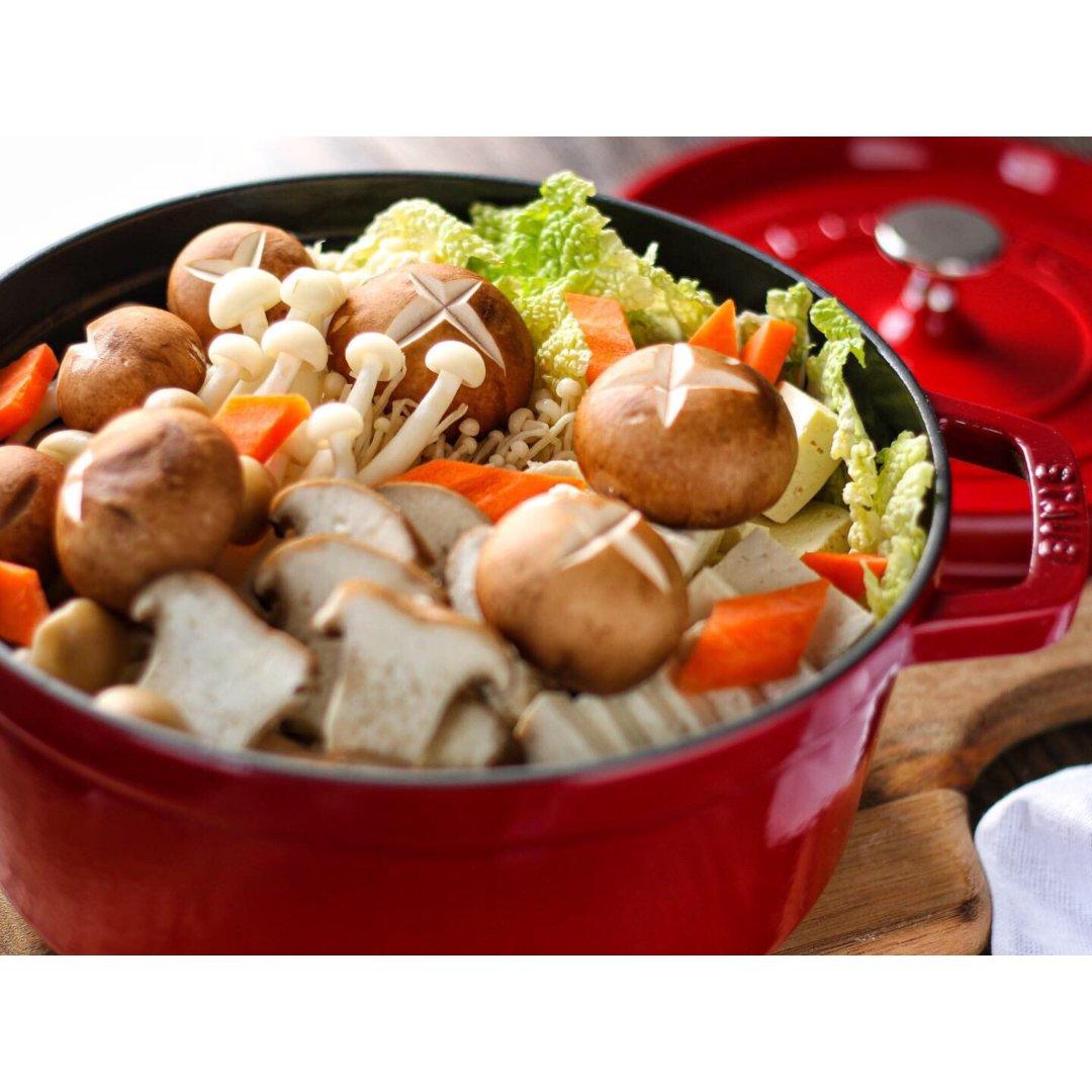 什锦菌菇豆腐锅丨珐琅铸铁锅无水料理