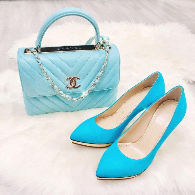 鞋包同色系之湖水蓝