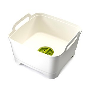 Amazon.com: Joseph Joseph 85055 Wash & Drain Wash Basin Dishpan with Draining Plug Carry Handles 12.4-in x 12.2-in x 7.5-in, White: Home & Kitchen