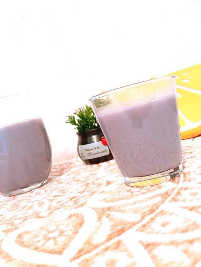 周日的早餐~迷情紫薯豆浆+Bagel