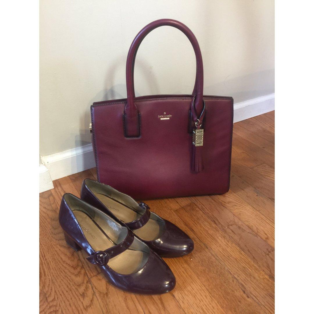 包包鞋子一个色-3 酒红色