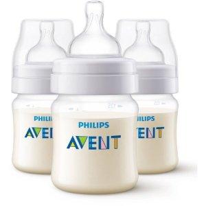 $9.59飞利浦 Avent 新安怡防胀气奶瓶3只套装,2种尺寸选