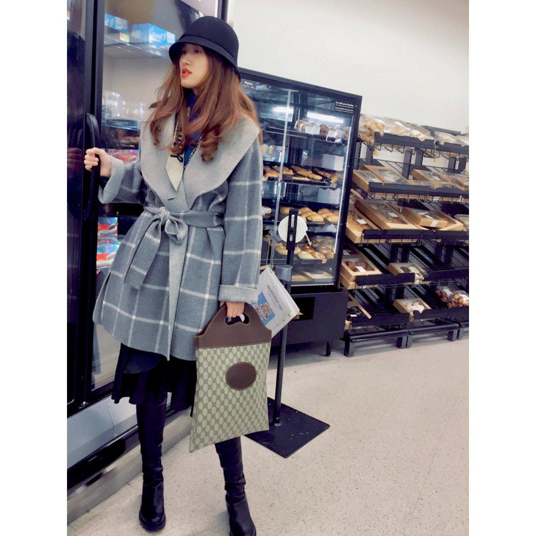 冬日裙装|50度灰格纹大衣🧥
