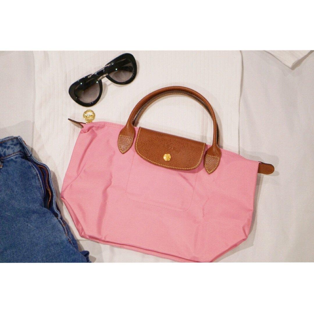 新入Longchamp粉色小号短柄饺子包