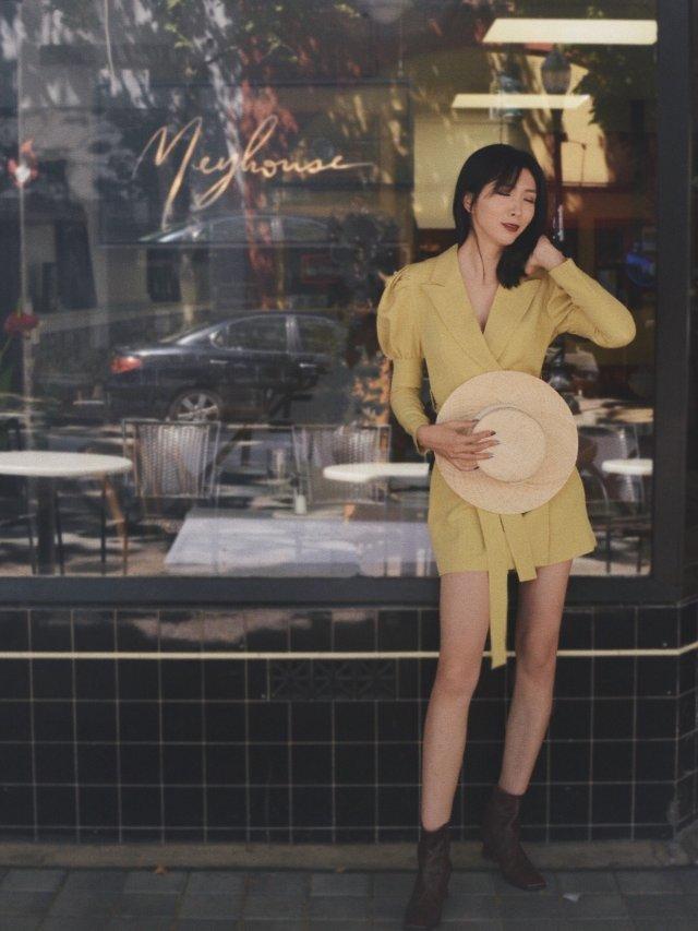 复古亚麻黄连衣裙的夏天🌼 | qu...