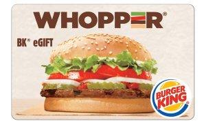 $5$10 Burger King eGift Card汉堡王利卡半价收