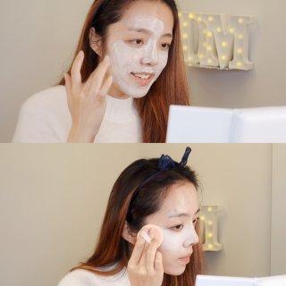 面膜护肤,涂上厚厚的粉底