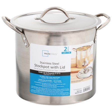 Mainstays 8夸脱不锈钢汤锅,带不锈钢锅盖