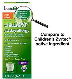 $7.13Basic Care 儿童全天过敏西替利嗪HCl口服液,8盎司