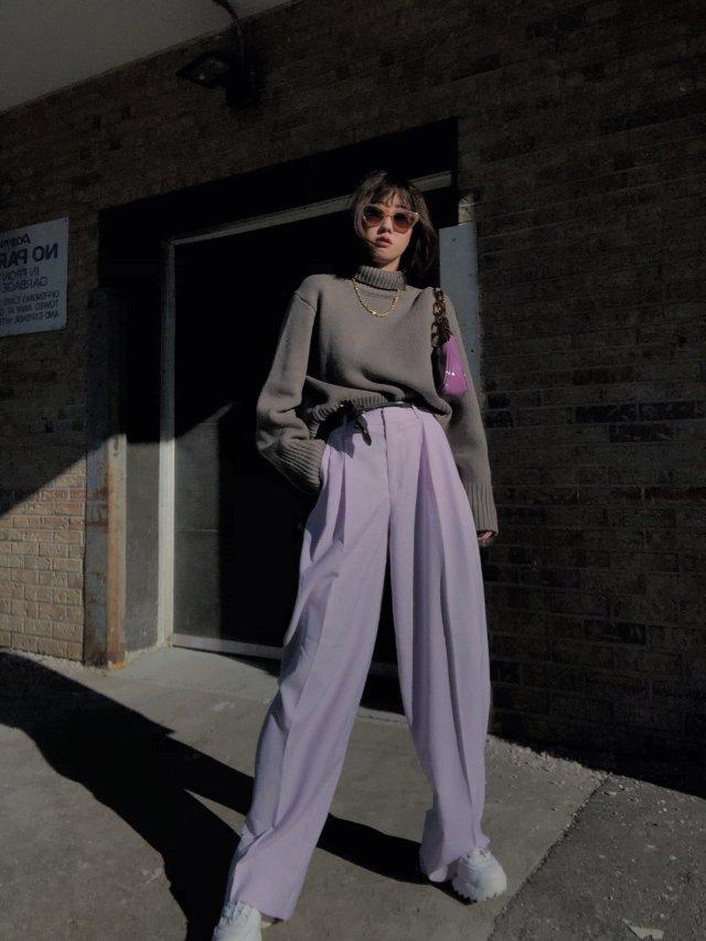 【H&M 紫色裤子】