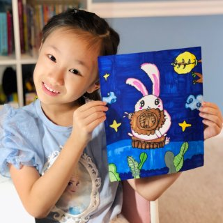 收集月亮|一轮明月挂长空,一只小兔吃月饼...