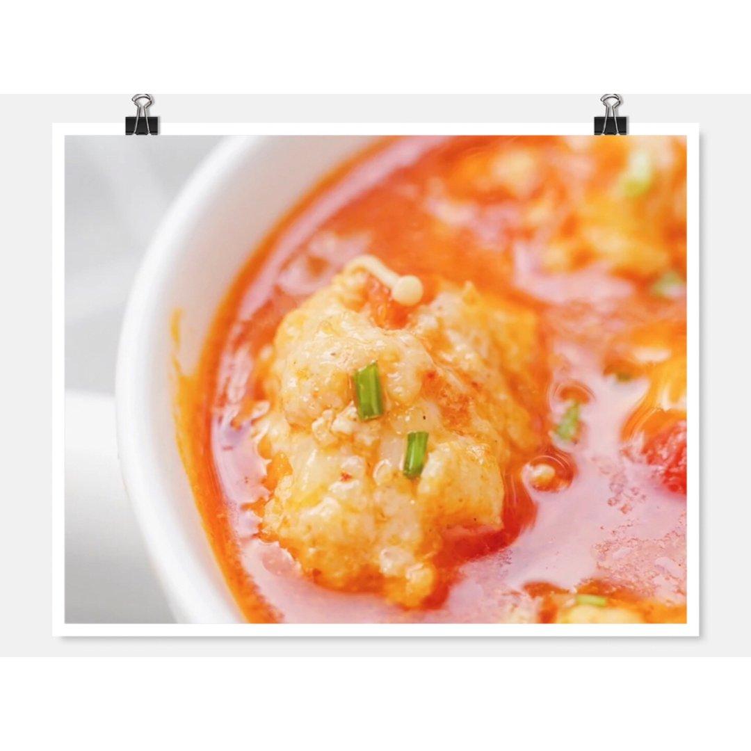 【晚餐】自制番茄虾滑      酸...