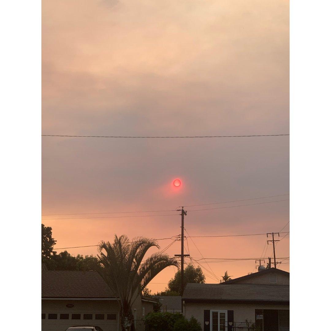 自从山火蔓延,天上的太阳和月亮就像...
