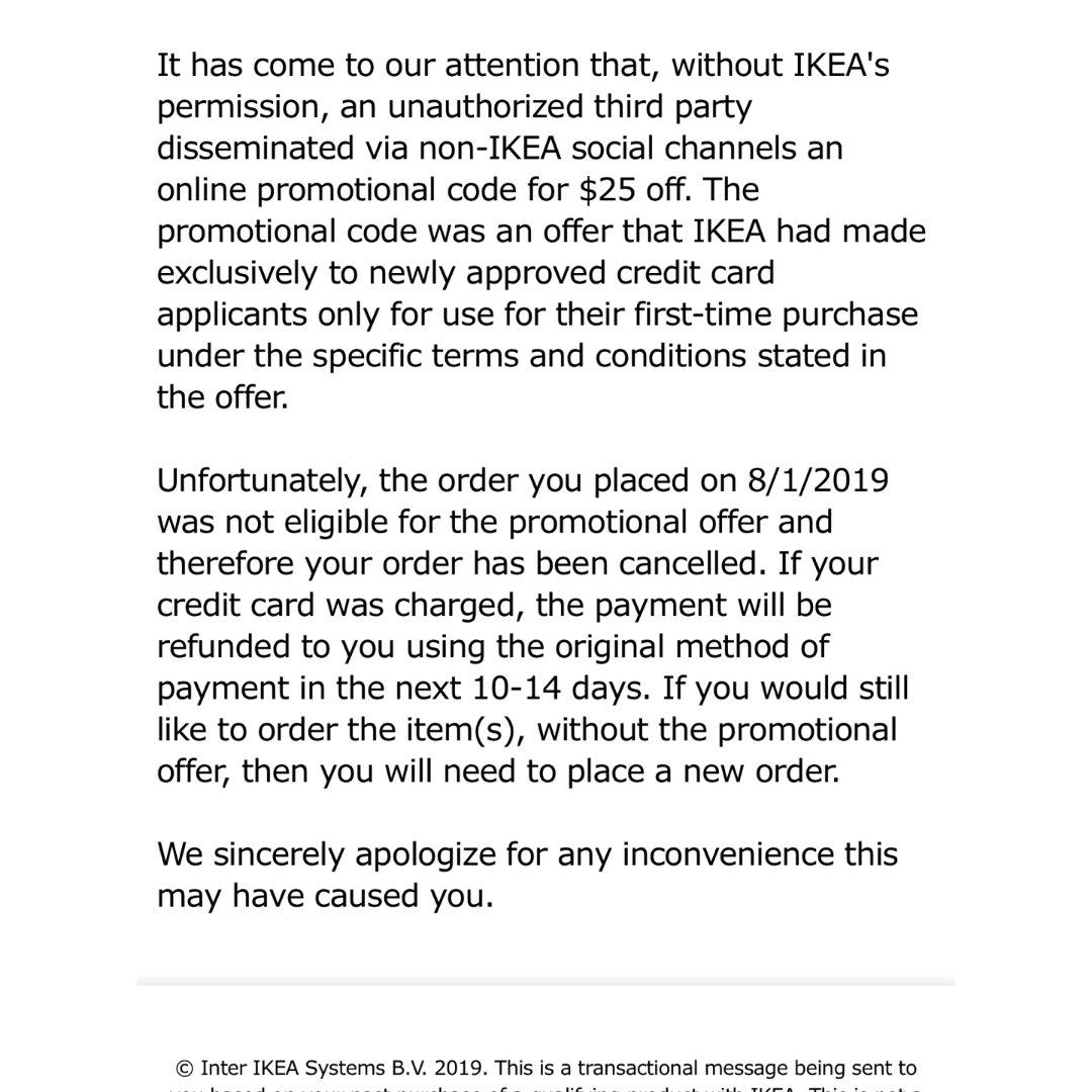 Ikea上次满25减25下了7单取消2单