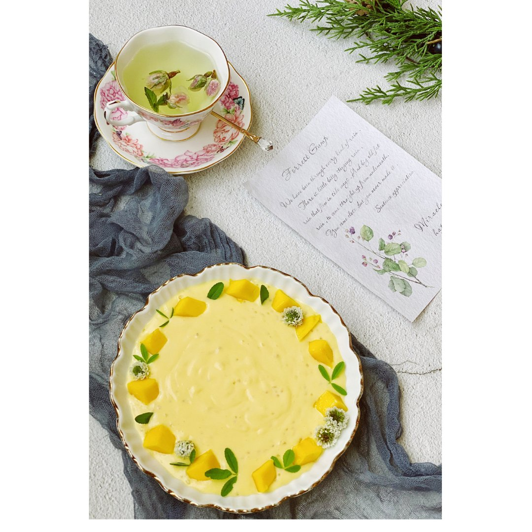 下午茶自己做 |小清新的芒果奶昔碗