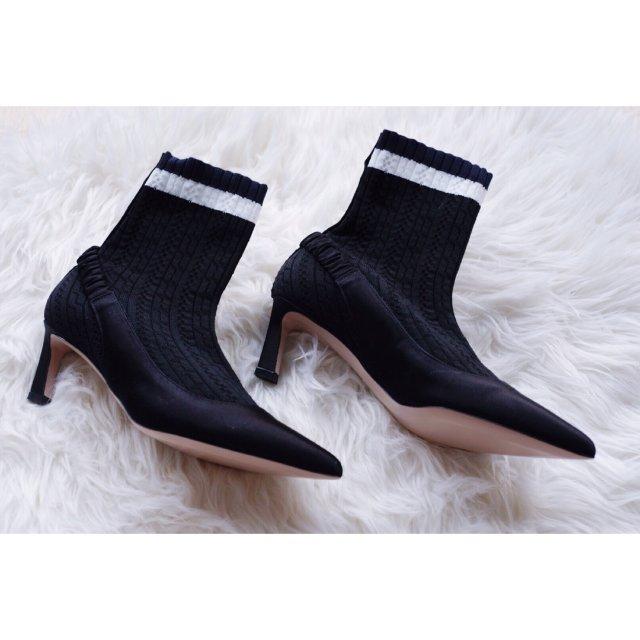 假slingback•真缎面袜靴 ...