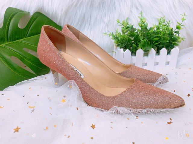 粉色之MB拉丝高跟鞋