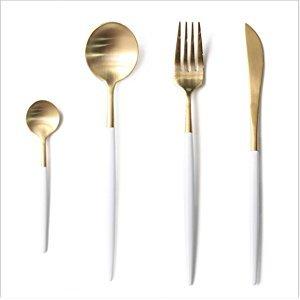 Amazon.com | LEKOCH 4-Piece Stainless Steel Flatware Set 1 Including Fork Spoons Knife Tableware (Blue+Golden): Serving Sets