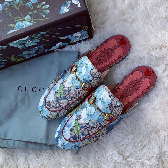 D5-1 Gucci蓝色印花拖鞋