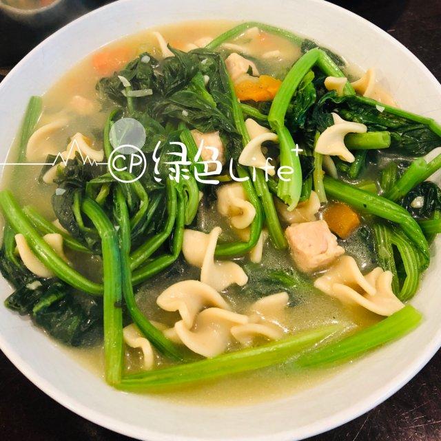 自制美食分享|健康美味~鸡汤面炖菠菜🥬