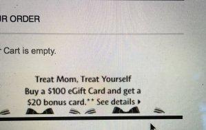 gift card 买100 送20Sephora eGift Cards