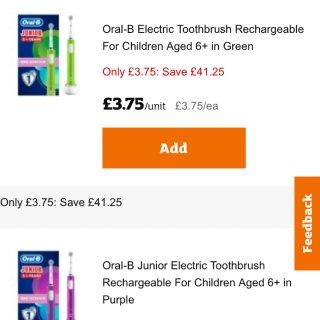 oral-b 3镑的电动牙刷...