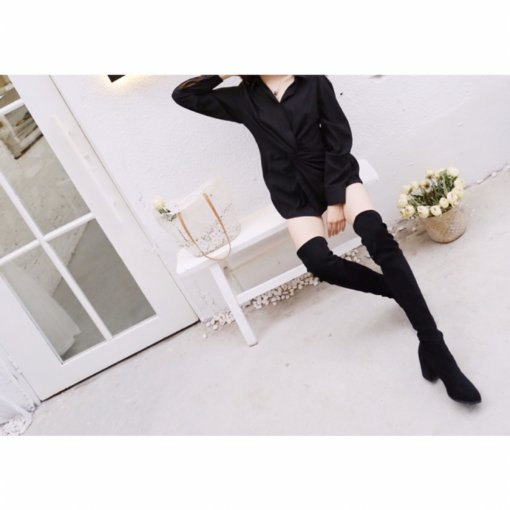 长衬衫+过膝靴 大长腿组合✔️