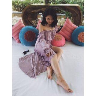 黄皮也能hold住的紫色,裙纸是永远21...