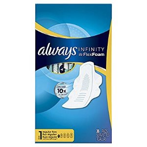 $16.47Always Infinity Size 1 Feminine Pads with Wings, Regular Absorbency, Unscented, 36 Count - Pack of 3 (108 Total Count)