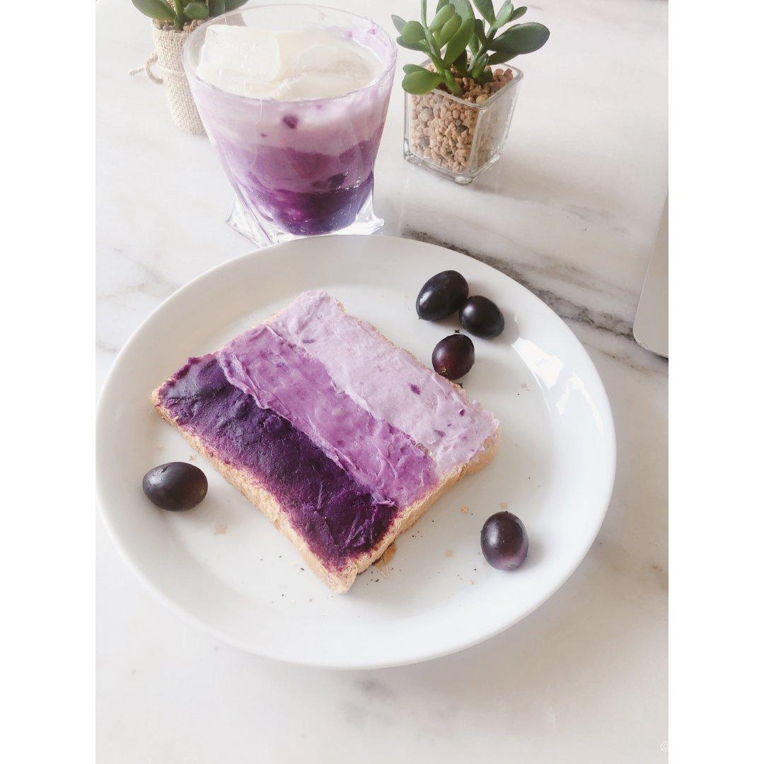 香芋紫油画早餐,好看又好次~ 🍆🍇...