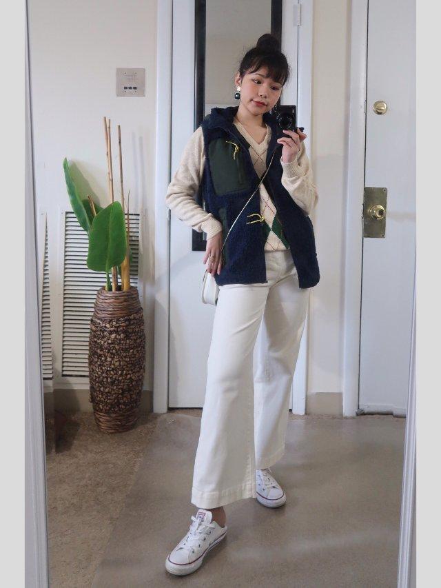 穿搭|格子针织衫+摇粒绒背心
