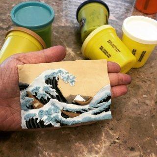 橡皮泥微缩世界名画之《神奈川冲浪里》🌊...