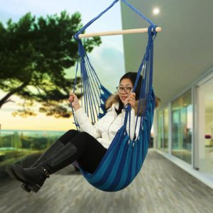 $31.99Ancheer Hammock Splicing Color Hanging Rope Chair Cotton FabricCanvas Tree Hanging Suspended Outdoor Indoor Chair