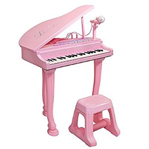 Amazon.com: Kids Toy Grand Piano With 37-Key Keyboard Stool and Microphone - Honor-Y Support ipad / smartphone / MP3 For Childs Education ( Pink ): Toys & Games