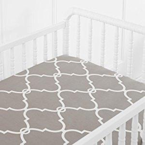 $1Pinzon 300 Thread Count Percale Fitted Mini Crib Sheet, Lattice Platinum