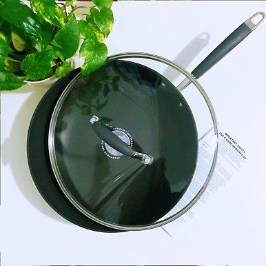 硬质阳极氧化玻璃盖不粘中式炒锅12寸