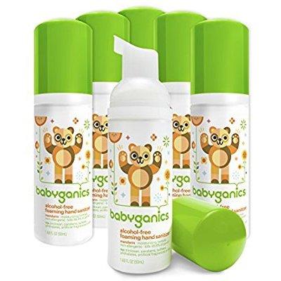 Babyganics Alcohol-Free Foaming Hand Sanitizer, Mandarin, On-The-Go, 50 ml (1.69-Ounce), Pump Bottle (Pack of 6) @ Amazon