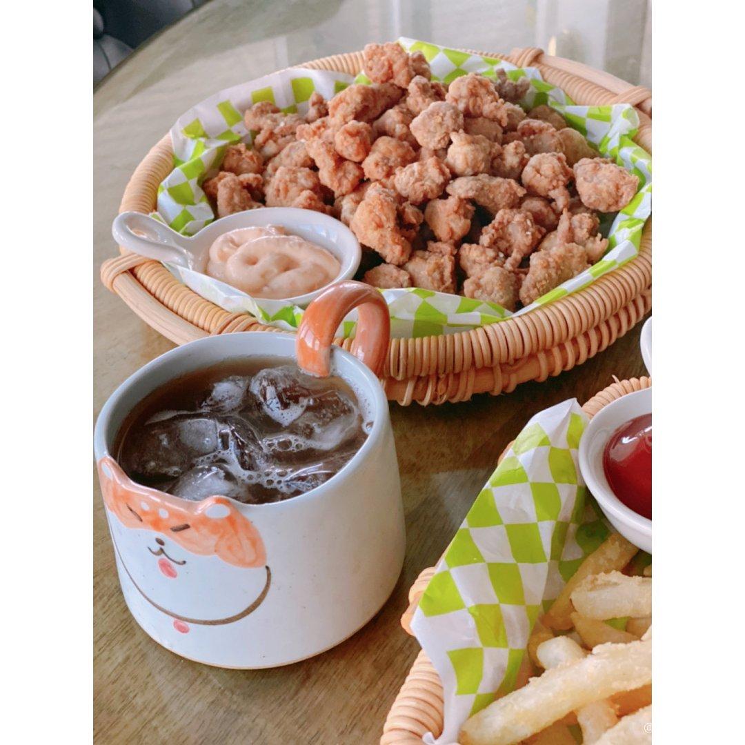 冰镇的酸梅汤|盐酥鸡脆骨|炸薯条|