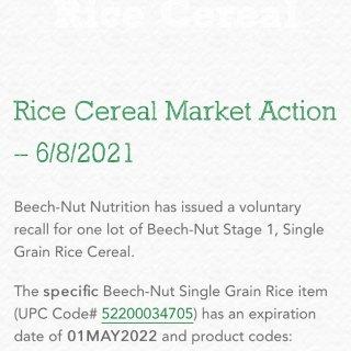 Beech Nut1段婴儿米粉紧急召回‼...