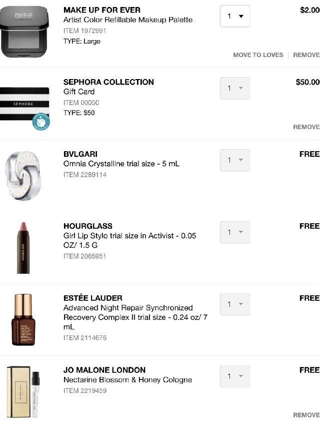 Sephora买礼卡满赠回归
