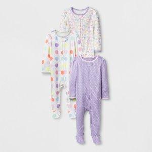 Baby Girls' 3pk Rainbow Sleep N' Play - Cloud Island™ White : Target
