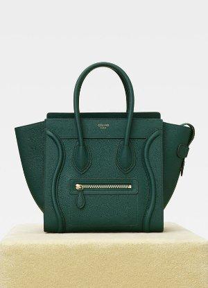 Micro Luggage handbag in drummed calfskin - Handbags | CÉLINE