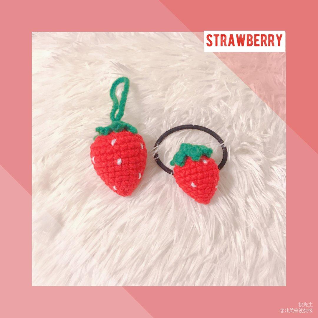 手工编织|🍓卖萌神器草莓头饰和挂件