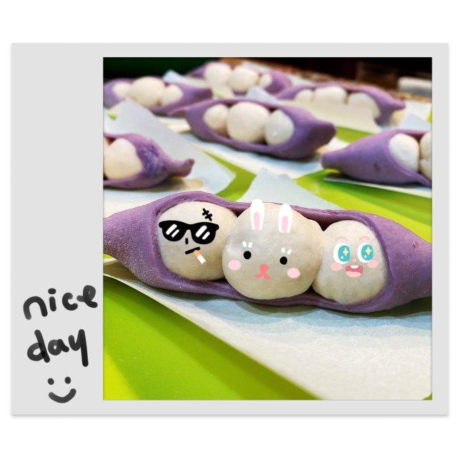 给小朋友做豌豆馒头啦