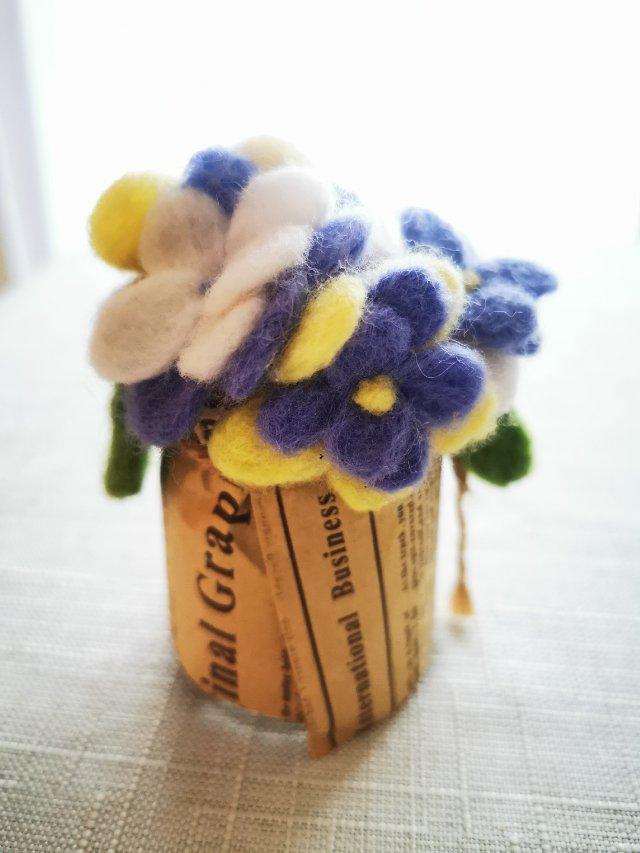 再晒羊毛毡手工—薰衣草画框和小花瓶