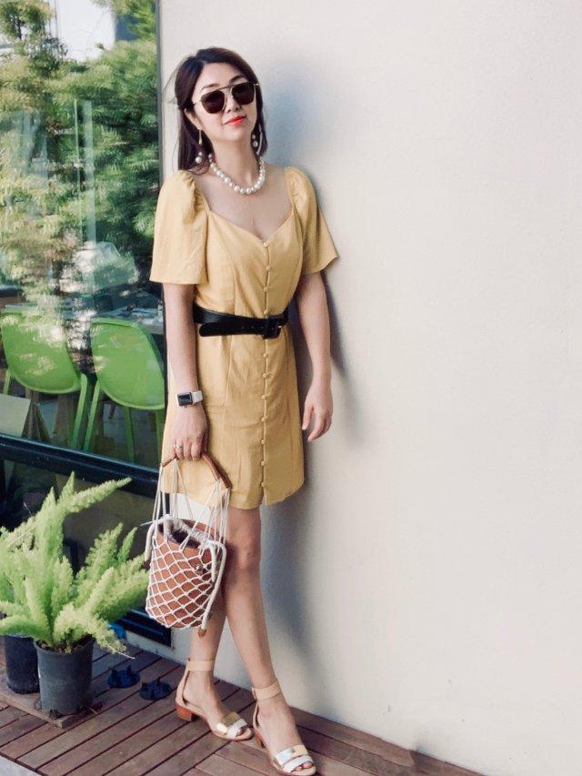 平价单品穿搭 |明黄色连衣裙清爽过夏天