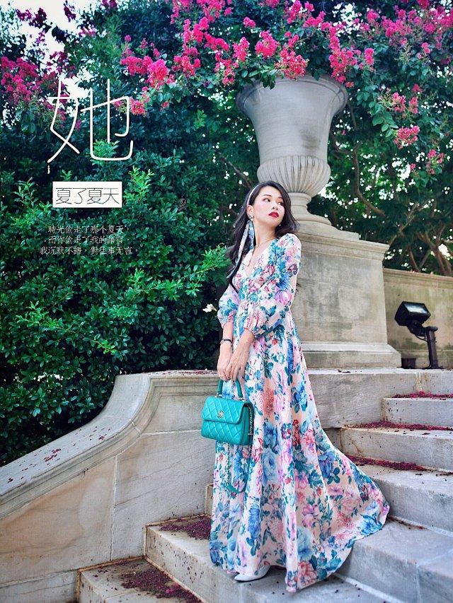 一条人见人爱花见花开的度假风亚麻长裙👗